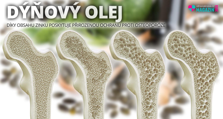 Olej z dýňových semínek je účinný proti osteoporóze. Zejména na kyčlích a páteři.