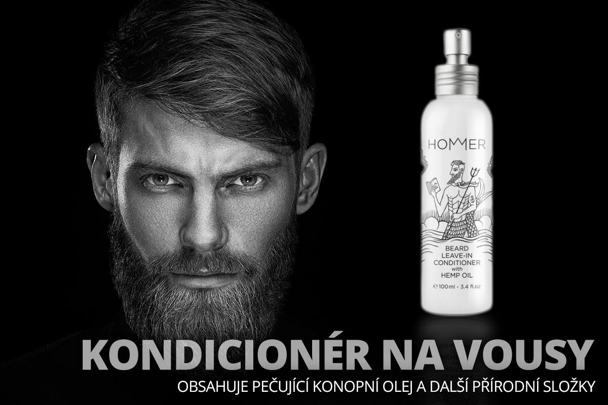 Kondicionér na vousy HOMMER obsahuje pečující konopní olej a další přírodní složky.