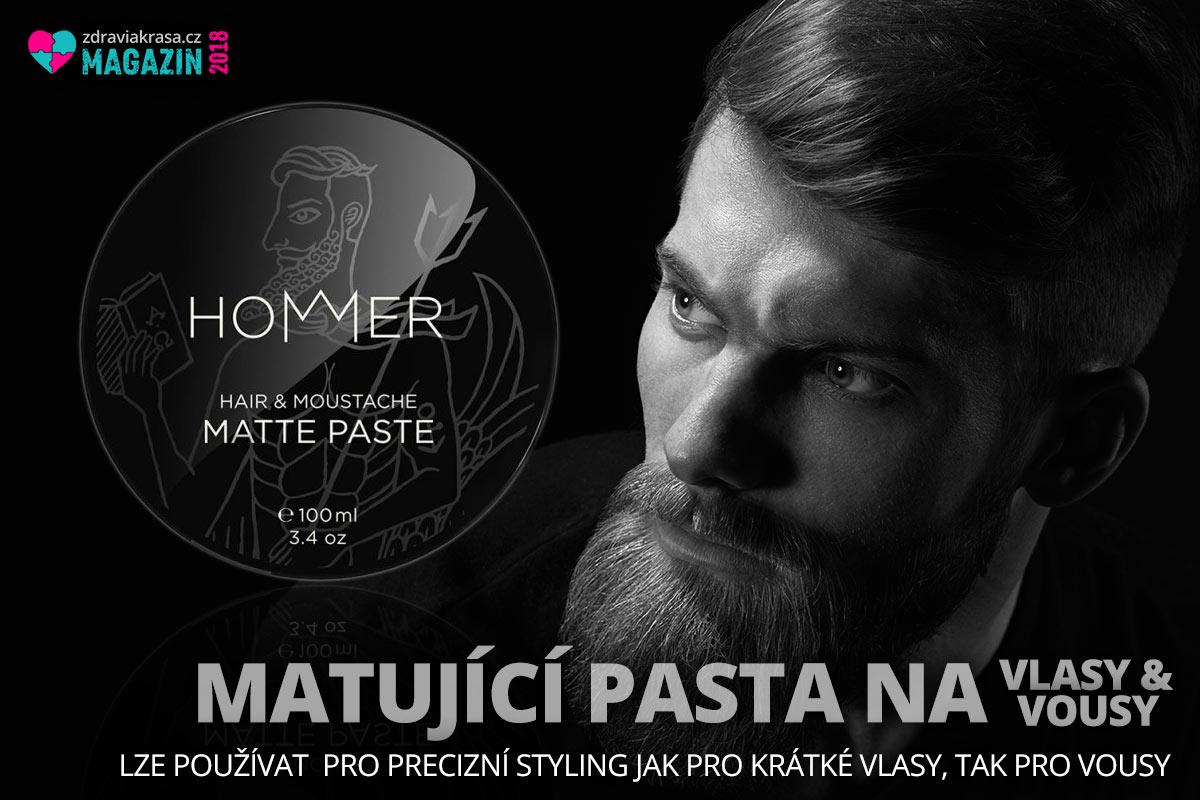 Matující pasta na vlasy HOMMER je kvalitní vosk na vousy a vlasy složený z pečujících vosků a olejů.
