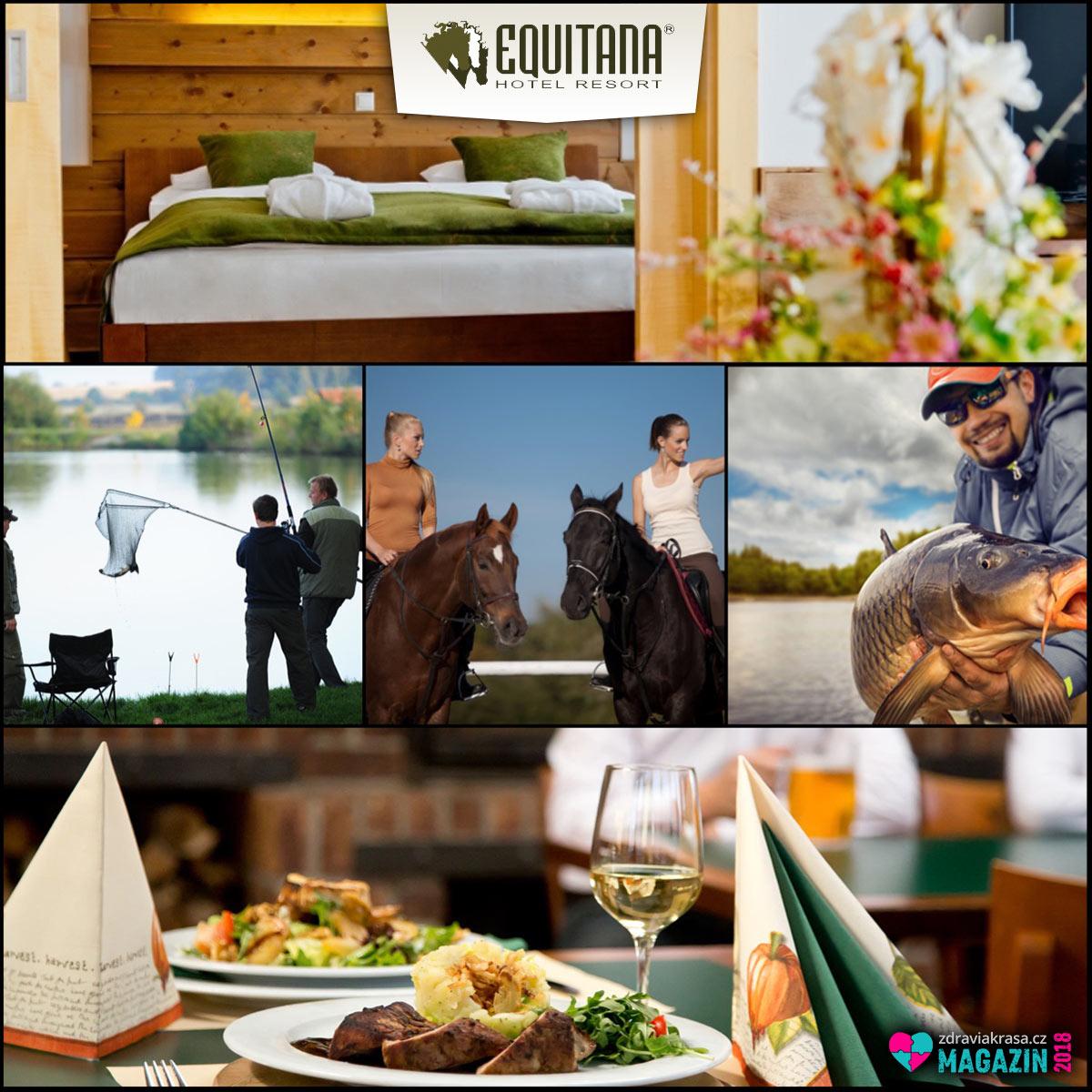 Velkým hitem Equitana Hotel Resort jsou wellness pobyty rozšířené o možnost jízdy na koni nebo rybolovu.