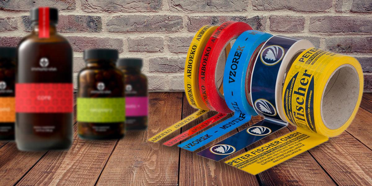 Reklamní lepicí pásky lze pořídit v různých šířkách, barvách, z PVC i papíru a v různě velkých návinech.
