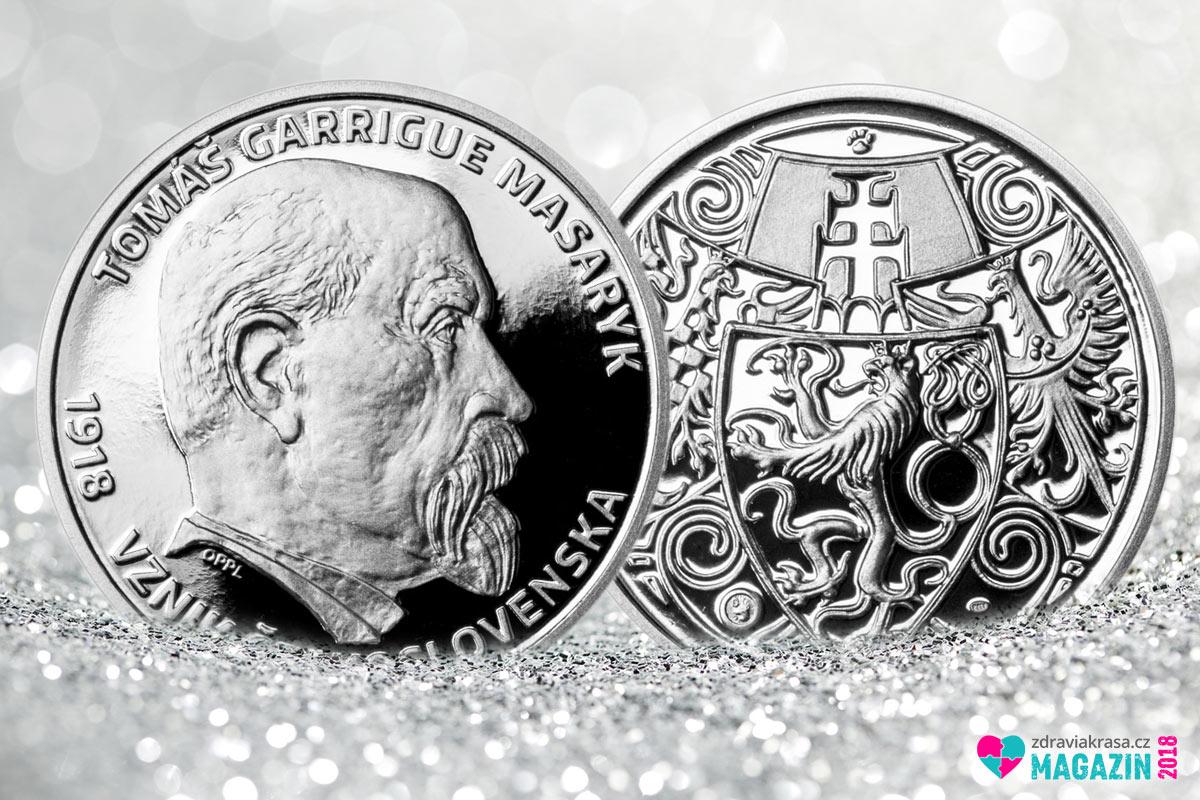 Stříbrný odražek, který je součástí setu mince vydané ke 100. výročí založení ČSR.