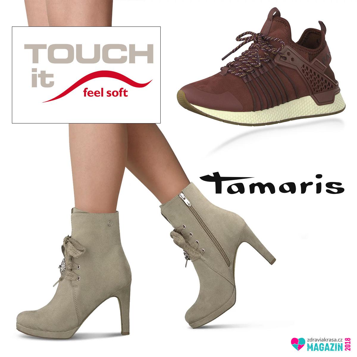Celoroční tenisky ve vínové barvě a nízké kozačky Tamaris drží naše nohy jako v bavlnce díky technologii Touch-it.