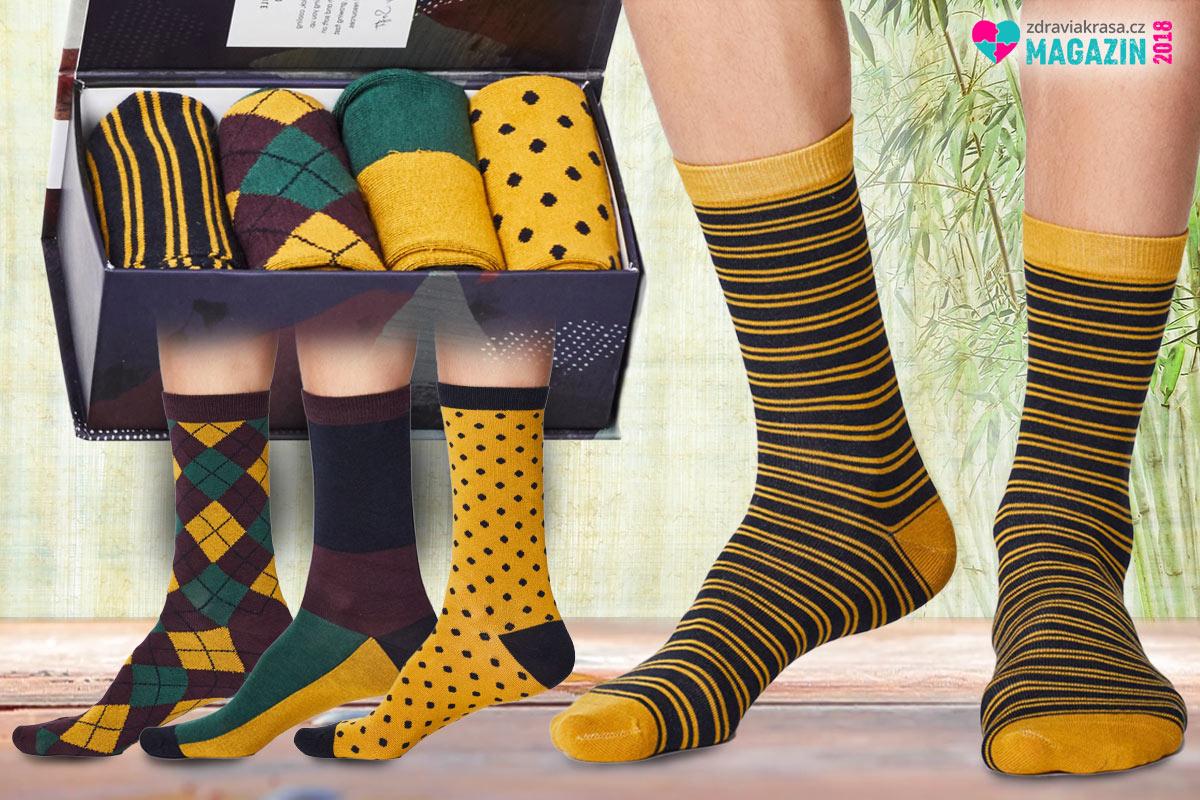 5d32bf45eb3 Módní vzorované pánské bambusové ponožky v dárkovém setu. (Nabízí je   Bambusacky.cz