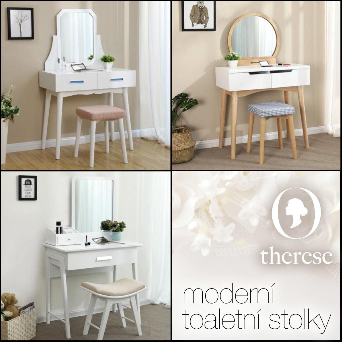 Do moderně zařízeného interiéru ložnice skvěle zapadne moderní toaletní stolek se zrcadlem. Najdete jej v sortimentu e-shopu Therese.cz.