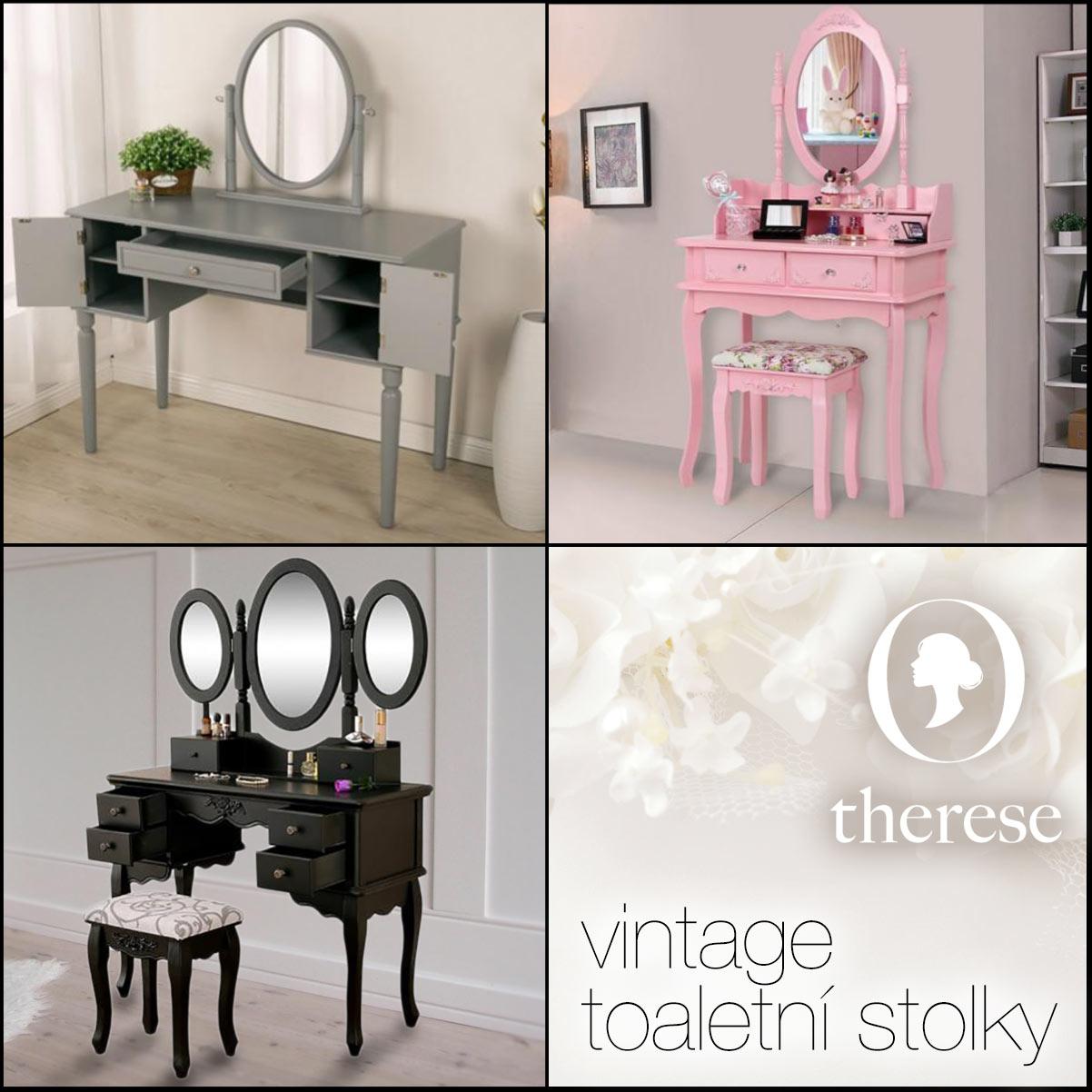 Chcete si dopřát trochu romantiky, ev. toaletní stolek zapasovat do historického interiéru? Řada modelů toaletek je právě v tomto stylu. V růžové barvě dokáže oživit i pokoj vaší malé princezny jako dětský toaletní stolek. Všechny tyto kousky nábytku koupíte v e-shopu Therese.cz.
