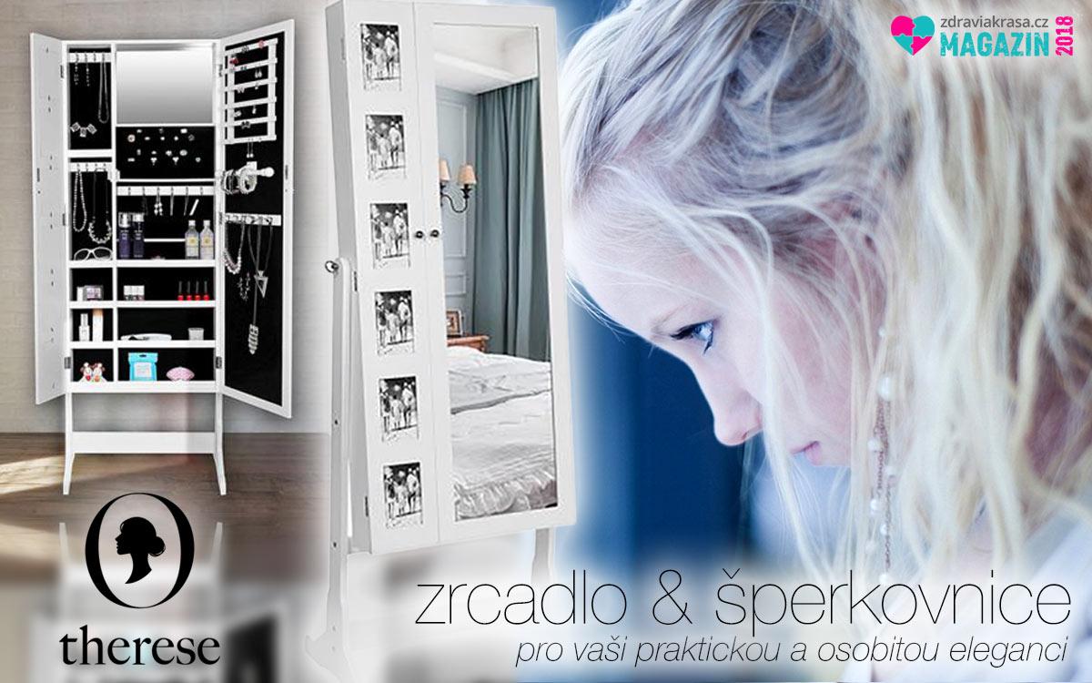 Zrcadla mohou být rovněž inteligentními a praktickými kusy nábytku. Dokážou zastat funkci vysokého interiérové zrcadla, stát se galerií našich oblíbených fotografií, šperkovnicí, toaletkou, místem pro make-up i parfémy. A nejen to. Tyto chytré a současně krásné kousky nábytku nabízí specializovaný e-shop Therese.cz.