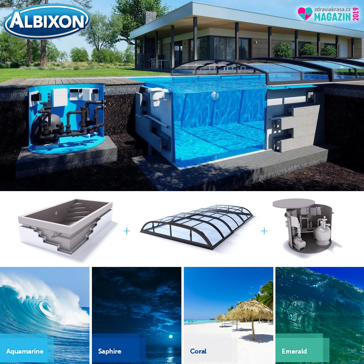 Dodavatelem kvalitních zapuštěných bazénů s kompletním vybavením i zastřešením je Albixon.