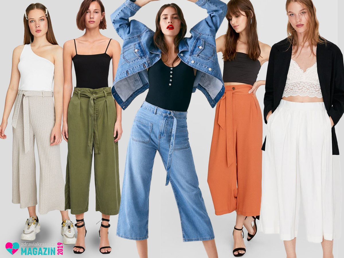 Vsaďte na 3/4 či 7/8 culottes. Patří mezi kalhotové top trendy.