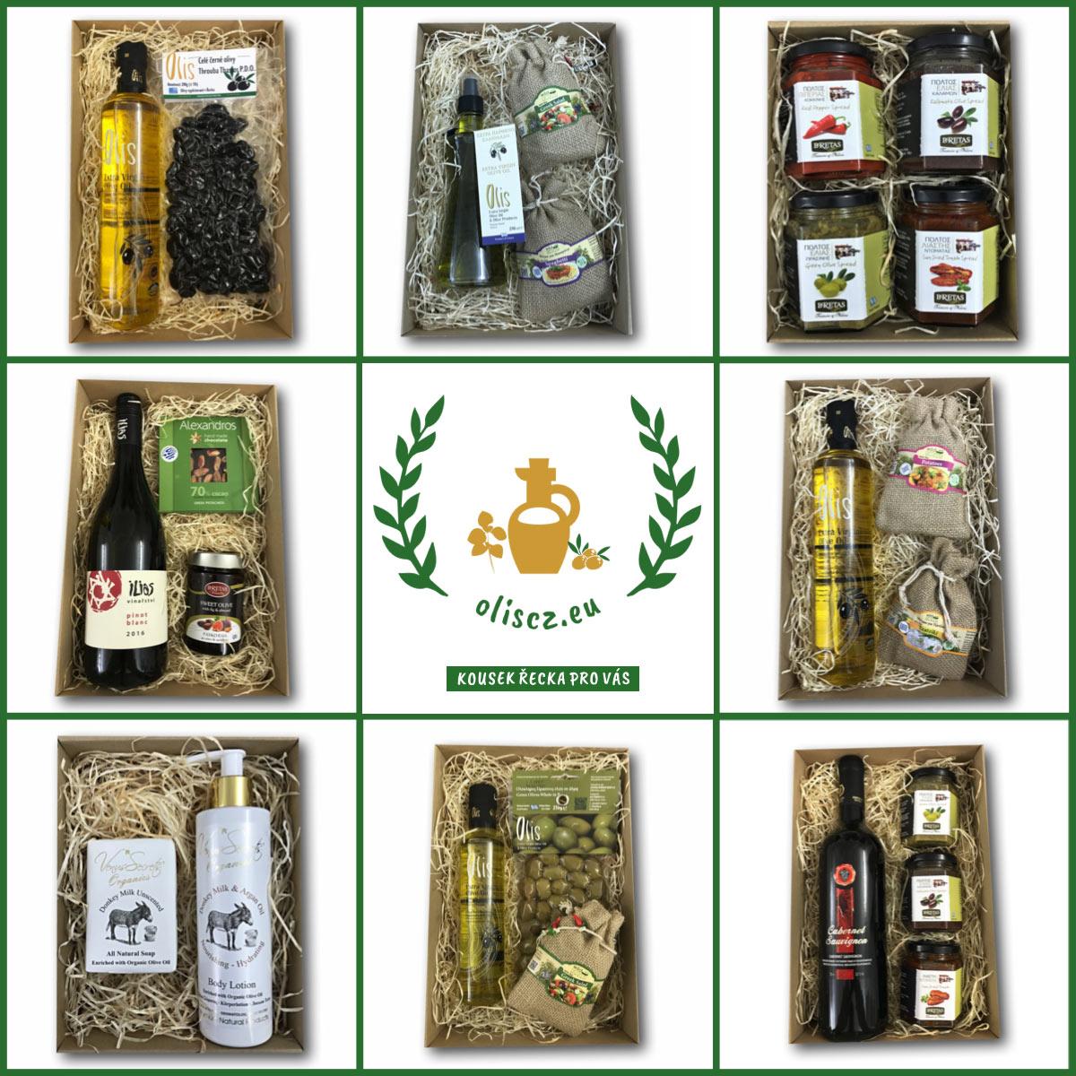 Dárkové vánoční balíčky s řeckými delikatesami i kosmetikou koupíte v e-shopu Oliscz.eu.